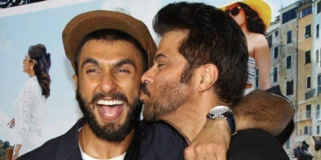 Indian Bollywood actors Anil Kapoor (R) and Ranveer Singh pose during the trailer showing of upcoming...