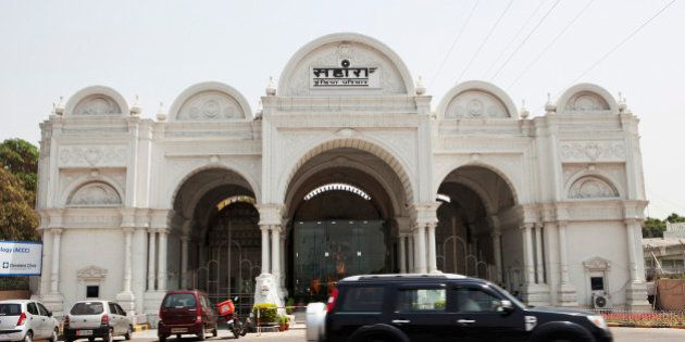 A car passes by the entrance of Sahara City, the private residence and workplace of Sahara Group Chairman...