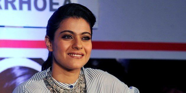 Indian Bollywood actress Kajol Devgn poses as she attends a press conference for the campaign Help A...