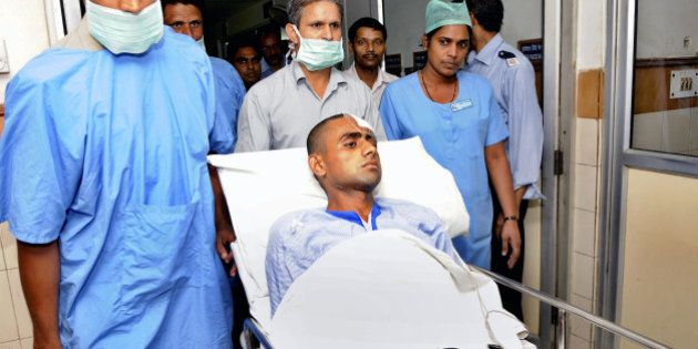 NOIDA, INDIA - OCTOBER 8: Danish, injured son of deceased Mohmammad Akhlaq was shifted to High Dependency...