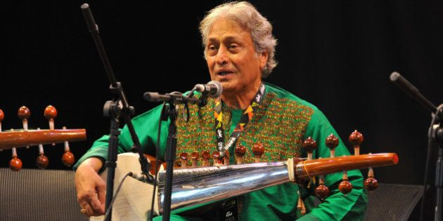 WILTSHIRE, UNITED KINGDOM - JULY 26: Amjad Ali Khan performs on stage at the Womad Festival at Charlton...