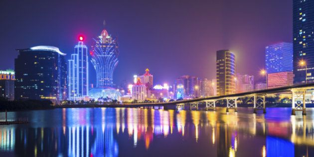 Skyline of Macau, China from across Nam Van