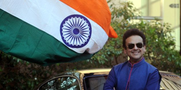 Pakistani Singer, Musician and Composer Adnan Sami poses as he celebrates being granted Indian citizenship...