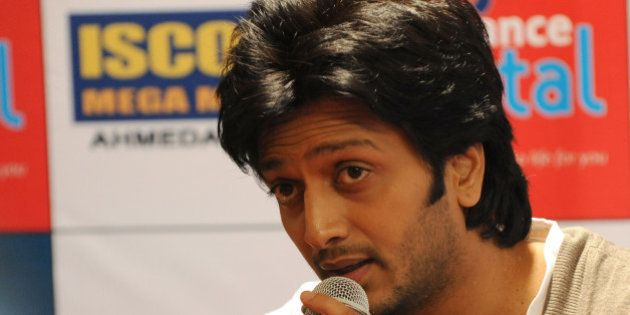 Indian Bollywood actor Riteish Deshmukh speaks during a promotion of his film 'Kyaa Super Kool Hain Hum...