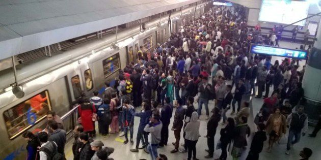 NEW DELHI, INDIA - JANUARY 1: Long queue seen as people using public transport at Rajiv Chowk Metro Station...