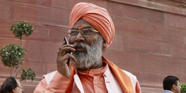 NEW DELHI, INDIA - DECEMBER 1: BJP MP Sakshi Maharaj during the winter session of Parliament on December...