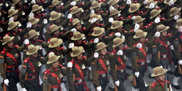 NEW DELHI, INDIA - JANUARY 7: Assam rifles battalion rehearse for the Republic Day Parade on a foggy...