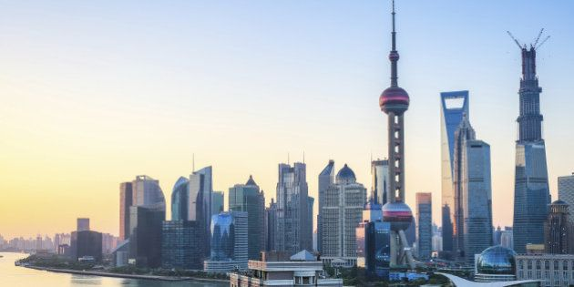 beautiful shanghai in sunrise,cityscape of pudong