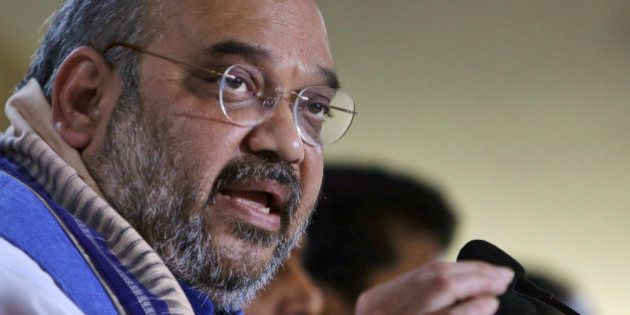 India's ruling Bharatiya Janata Party (BJP) President Amit Shah speaks at a press conference in Hyderabad,...