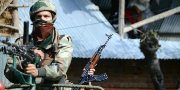 BARAMULA, INDIA - 2015/10/21: A militant Nisar Wani of Hizbul Mujahideen outfit was killed in a gun battle...