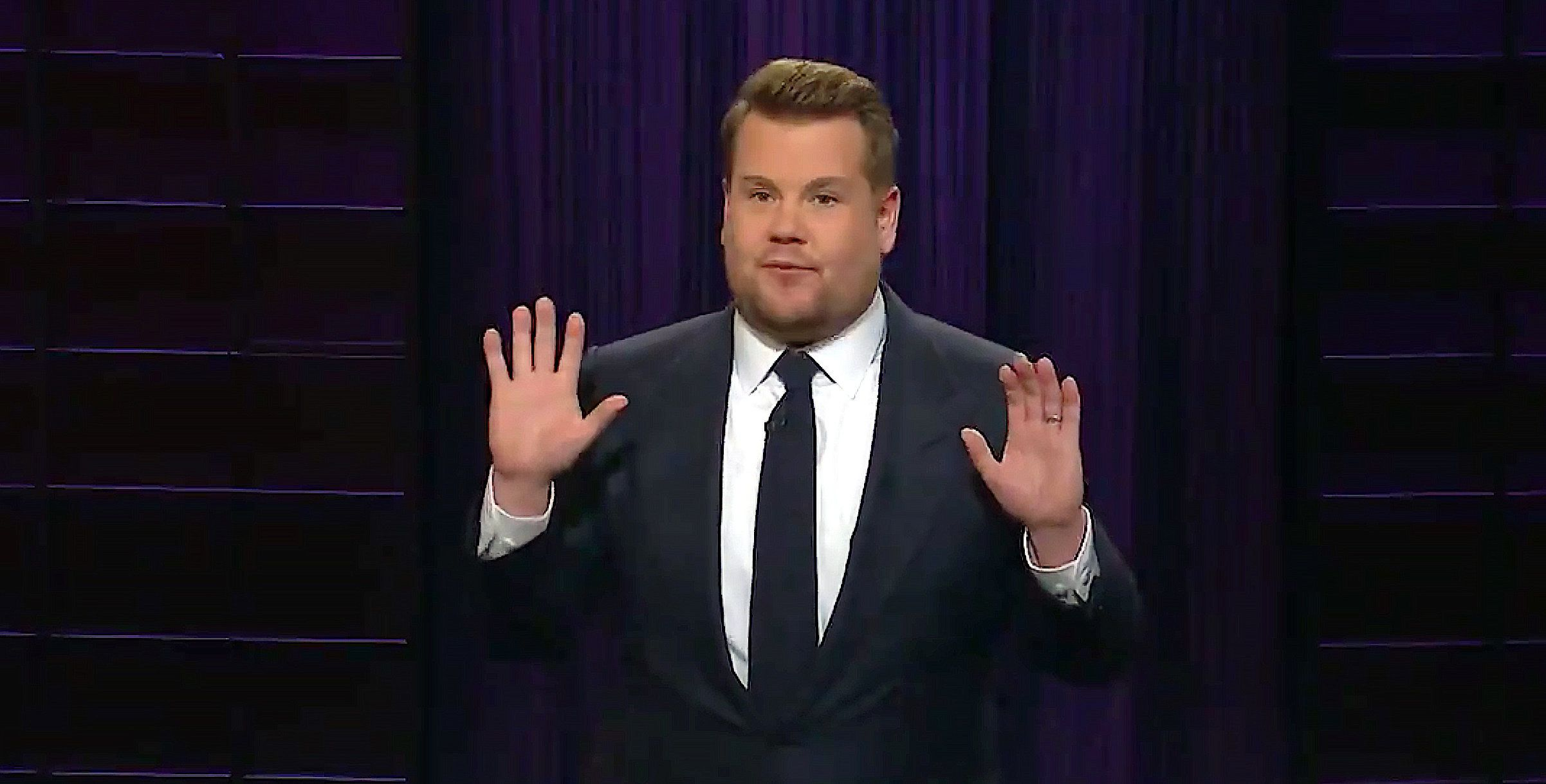 "James Corden of ""The Late Late Show"" reacts to President Donald Trump's speech on the border wall."