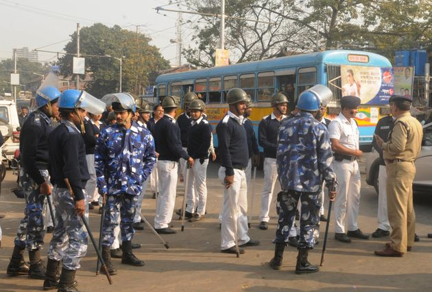Police deployed in Kolkata during the two-day nationwide strike called by central trade