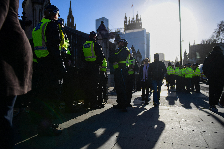 Polizisten vor dem britischen Unterhaus in London.