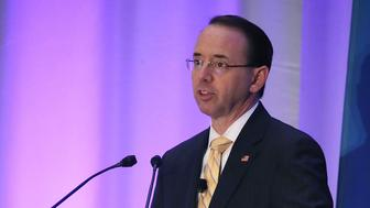 NATIONAL HARBOR, MD - NOVEMBER 29:  Deputy Attorney General Rod Rosenstein speaks during The American Conference Institute's 35th International Conference on the Foreign Corrupt Practices Act., on November 29, 20018 in National Harbor, Maryland.  (Photo by Mark Wilson/Getty Images)