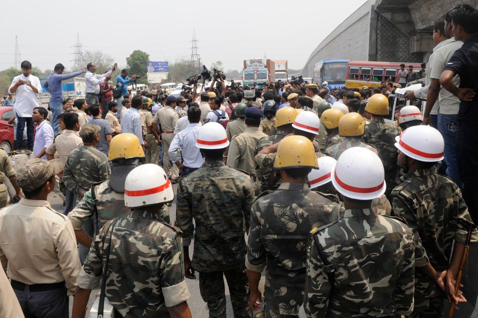 Security personnel called in during the riots that hit Asansol in