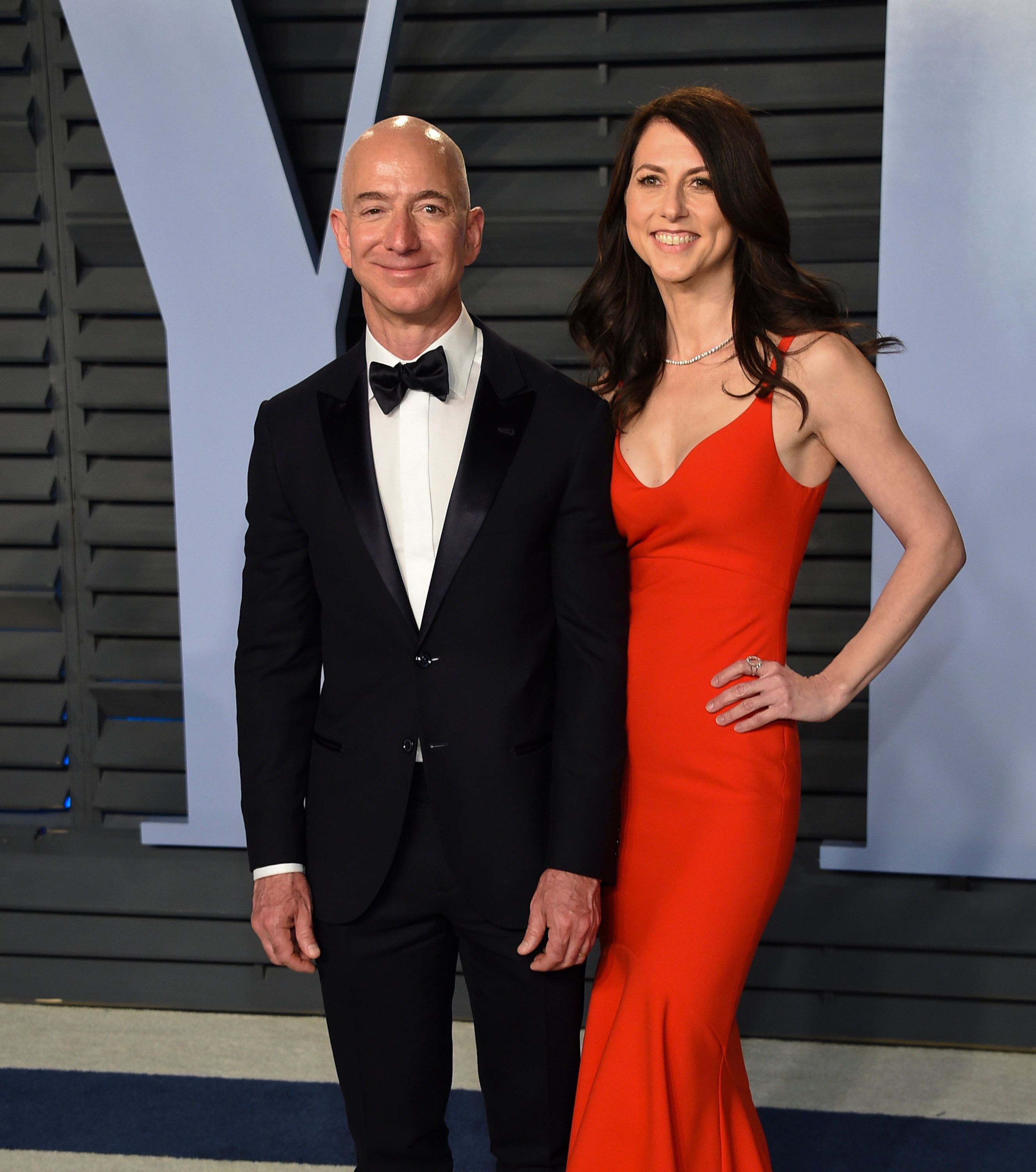 Jeff Bezos, left, and wife MacKenzie Bezos arrive at the Vanity Fair Oscar Party on Sunday, March 4, 2018, in Beverly Hills, Calif. (Photo by Evan Agostini/Invision/AP)