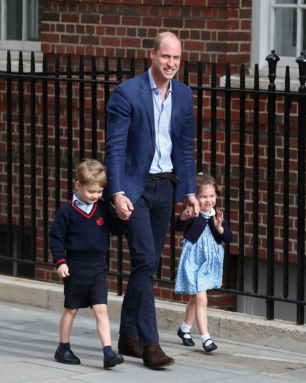 Charlotte offered an adorable wave on the way to meet her new brother, Louis, in April