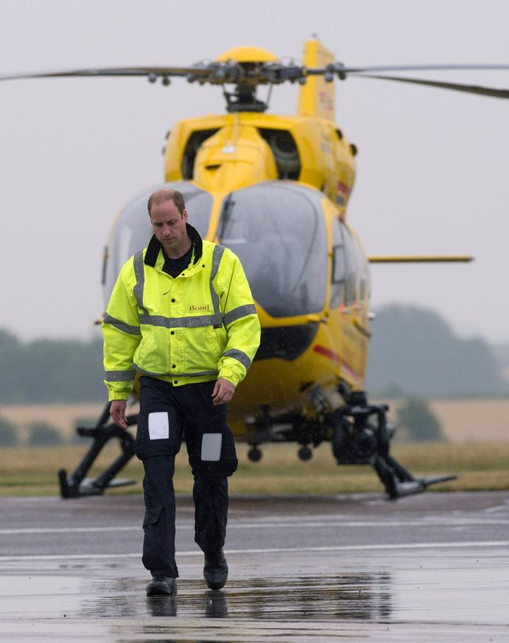 The Duke of Cambridge is seen at Cambridge Airport as he begins his new job with the East Anglian Air Ambulance in 2015. Will