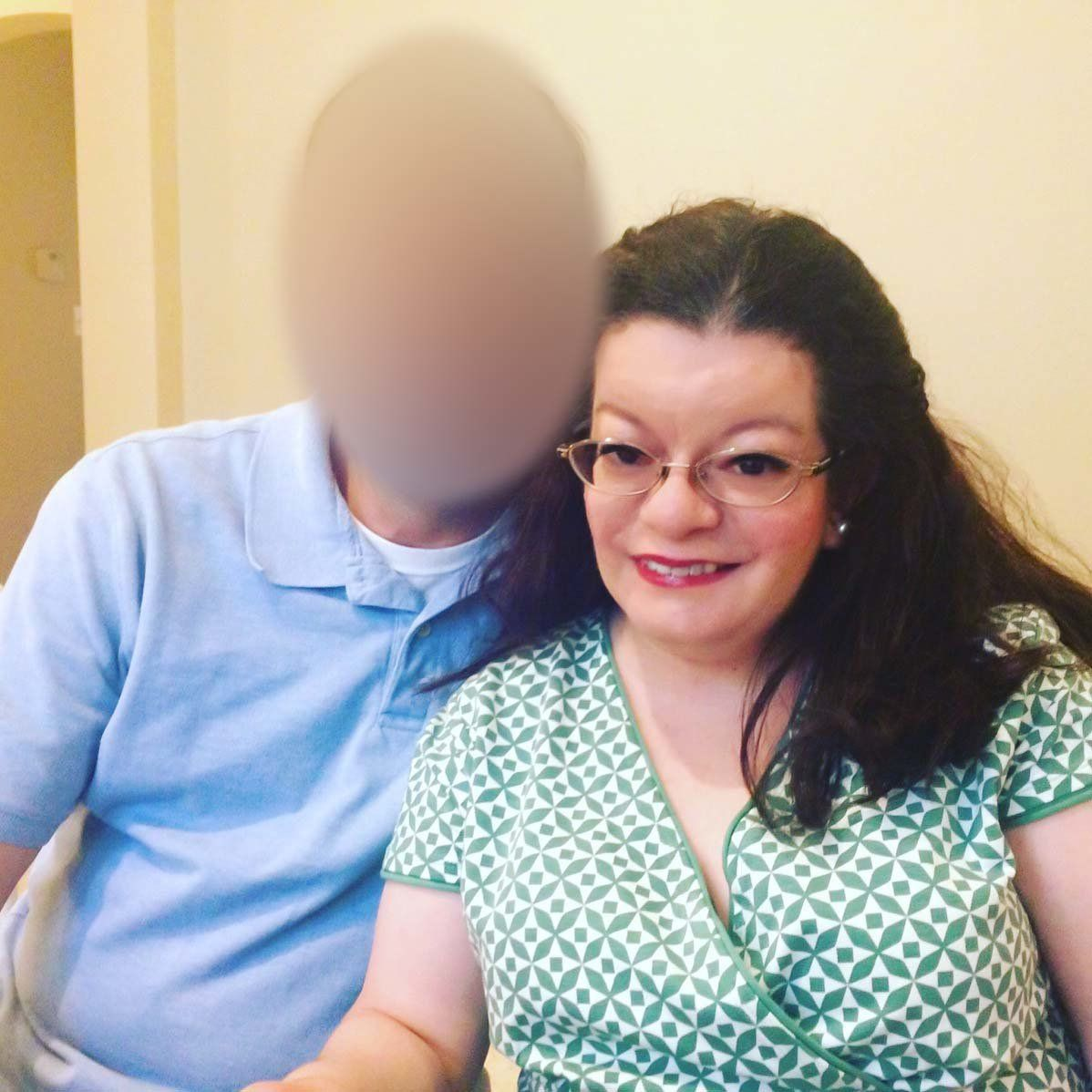 Amanda Auchter and her husband, who has been an FAA employee for 20 years. His face is blurred to protect his identity for fe