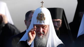 Patriarch Kirill, the head of the Russian Orthodox Church, attends a welcoming ceremony after arriving at Minsk National Airport, Belarus October 13, 2018. REUTERS/Vasily Fedosenko