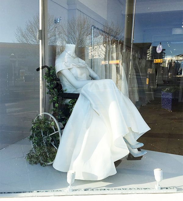 Image result for Bridal boutique praised for wheelchair wedding dress display.