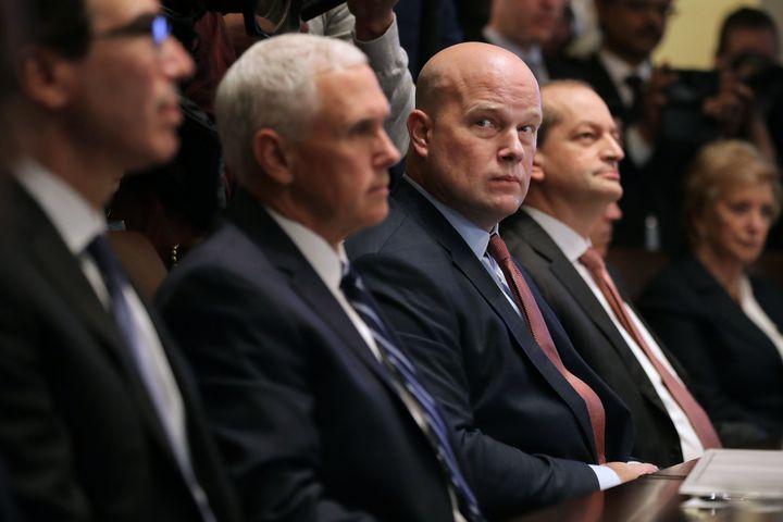 Treasury Secretary Steven Mnuchin, Vice President Mike Pence, acting U.S. Attorney General Matthew Whitaker, Labor Secretary