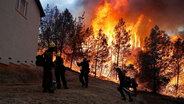 A group of U.S. Forest Service firefighters monitor a back fire while battling to save homes at the Camp Fire in Paradise, California, U.S. November 8, 2018. REUTERS/Stephen Lam     TPX IMAGES OF THE DAY