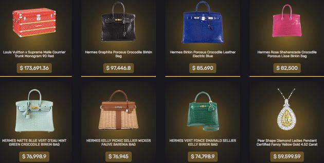 Top prizes listed on MysteryBrand.net include a $173,691.36 Louis Vuitton