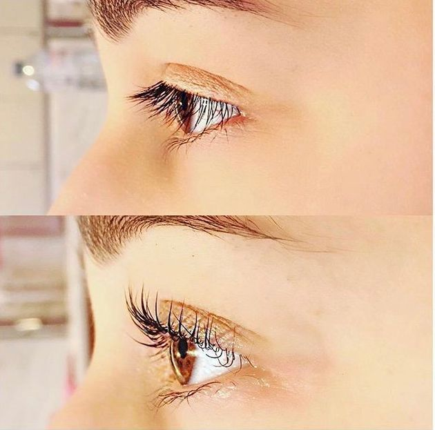 Before and after a lash liftdone by Angela