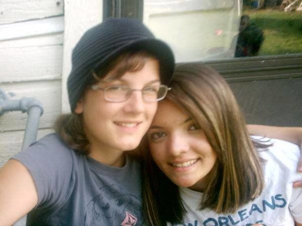 "Our first picture as a couple, taken in 2007 on our one month dating ""anniversary."""