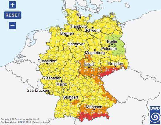 Die Karte des Deutschen Wetterdienstes.
