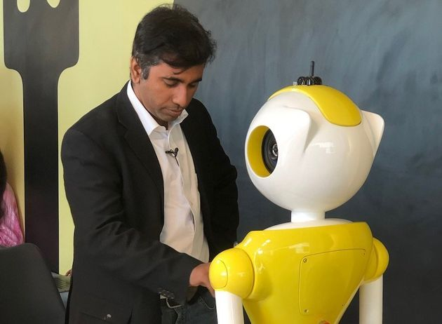 Balaji Viswanathan, CEO Invento Robotics, entering some data on the Mitri