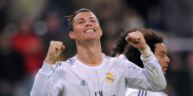 MADRID, SPAIN - JANUARY 06: Cristiano Ronaldo of Real Madrid CF celebrates after scoring their third...