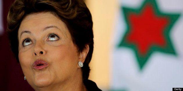 BRASILIA, BRAZIL - JANUARY 23: (BRAZIL OUT) Brazilian president Dilma Rousseff looks on during the ceremony...