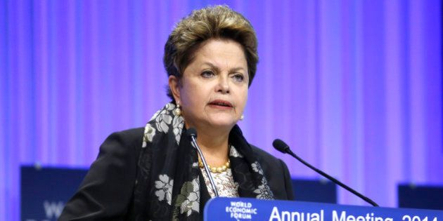 Dilma Rousseff, Brazil's president, speaks during a session on day three of the World Economic Forum...