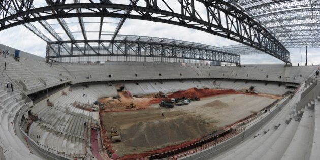 CURITIBA, BRAZIL - DECEMBER 14: Construction continues at the Arena da Baixada venue for the FIFA 2014...
