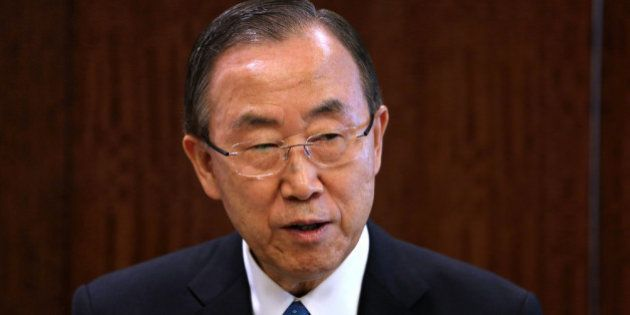 NEW YORK, NY - JULY 25: UN Secretary General Ban Ki-moon speaks before a meeting of the UN Security Council...