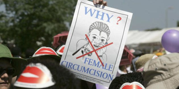 Nairobi, KENYA: Members of African Gay and Lesbian communities demonstrate against female genital mutilation,...