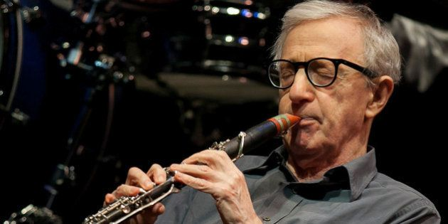 WESTWOOD, CA - DECEMBER 23: Woody Allen and his New Orleans Jazz Band perform at Royce Hall, UCLA on...