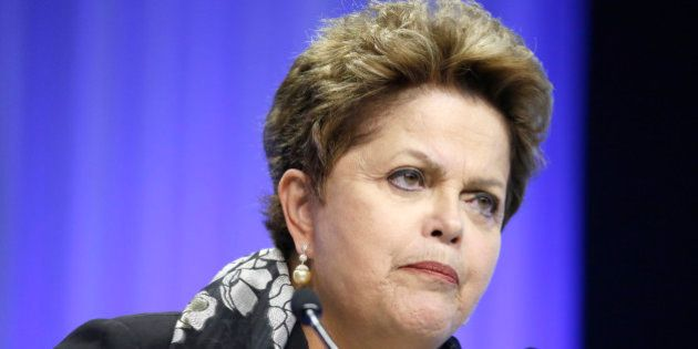 Dilma Rousseff, Brazil's president, pauses during a session on day three of the World Economic Forum...