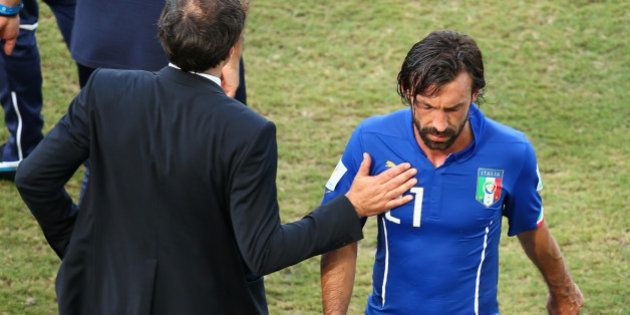 NATAL, BRAZIL - JUNE 24: Andrea Pirlo of Italy walks off the pitch after the 2014 FIFA World Cup Brazil...