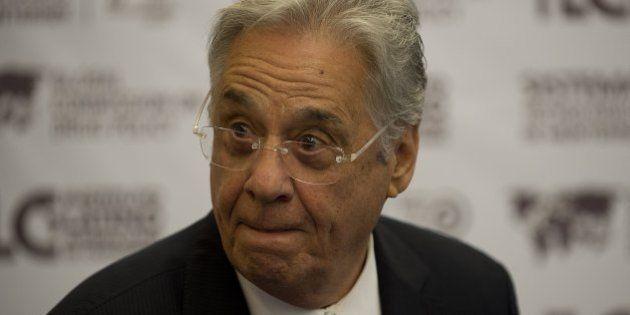 Former Brasilian President, Fernando Henrique Cardoso arrives for a press conference at Technological...