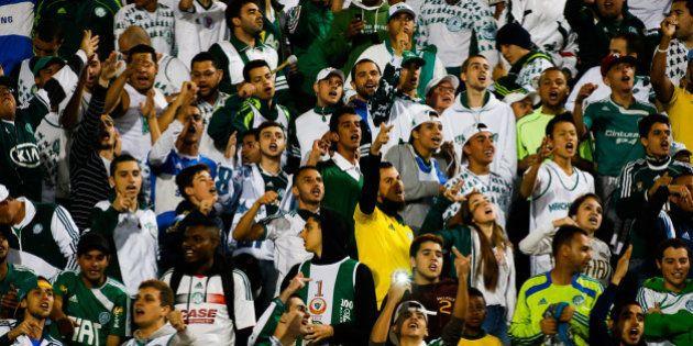 SAO PAULO, BRAZIL - SEPTEMBER 17: Cheers of Palmeiras in action during the match between Palmeiras e...