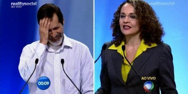 Em Debate na Record, Luciana Genro não gostou de 'risinho' de Eduardo Jorge ao dirigir pergunta a