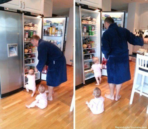 Gêmeas querem espiar dentro da geladeira a todo momento e acabam impedindo seu pai de cozinhar
