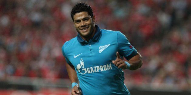 LISBON, PORTUGAL - SEPTEMBER 16: FC Zenit's Hulk celebrating first goal during the UEFA Champions League...