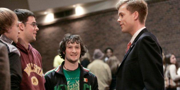 Senate candidate Robert Fitzgerald chats after a debate last week in St. Paul, Minn. (AP Photo/Jim