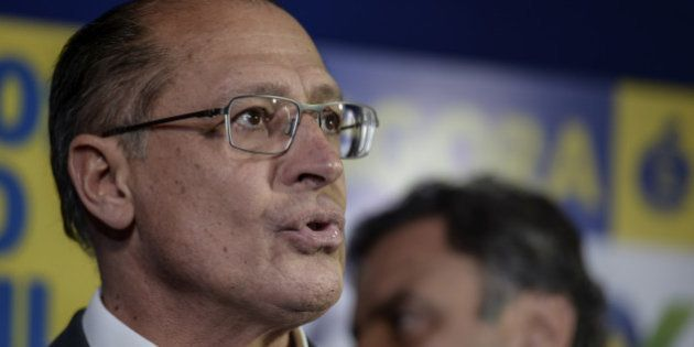 Geraldo Alckmin, governor of the state of Sao Paulo, speaks during a news conference with Aecio Neves,...