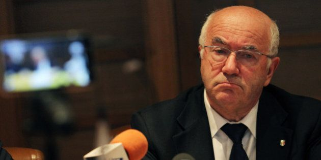 ROME, ITALY - SEPTEMBER 12: President FIGC Carlo Tavecchio attends a press conference after the Federal...