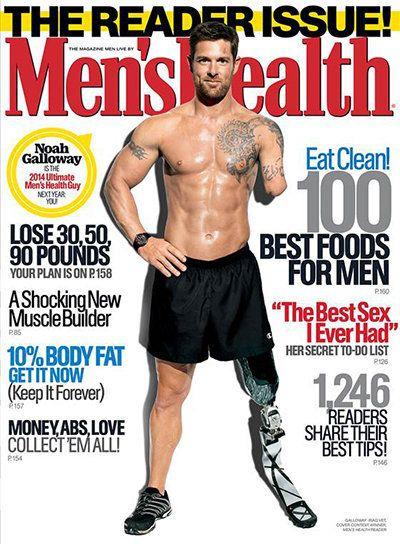 Pela primeira vez, revista Men's Health escolhe veterano de guerra com deficiência para capa da edição...